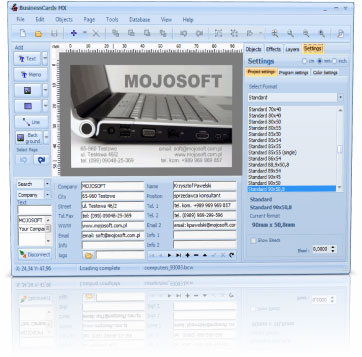 Mojosoft BusinessCards MX 4.2