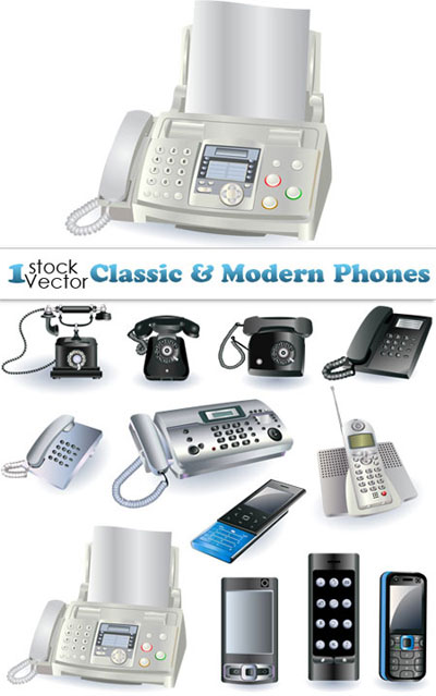 Classic-&-Modern-Phones-Vector